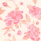 Watercolor seamless wallpaper with Peony flowers stock illustration