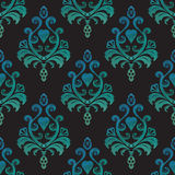 Watercolor seamless wallpapers in the style of baroque on black background. Vector Illustration Royalty Free Stock Image