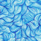 watercolor seamless wave hand-drawn pattern, background (seamles Stock Photo