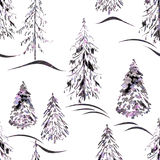 Watercolor seamless winter pattern . Royalty Free Stock Photography