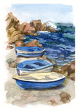 Watercolor seascape with boats. Watercolor seascape with fishing boats on the shore Royalty Free Stock Images