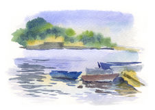 Watercolor seascape with boats Royalty Free Stock Photos