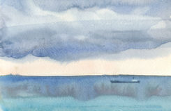 Watercolor seascape of the clouds over the mediterranean sea Stock Photos