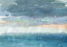 Watercolor seascape of the clouds over the sea Stock Images