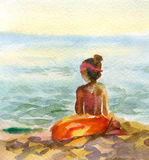 Watercolor seascape with girl Stock Photography
