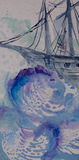 Watercolor seascape with historical ship sailing in the sea. Watercolor seascape with old fashioned historical ship sailing in deep sea with big blue waves Stock Photo