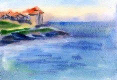 Watercolor seascape Stock Photo