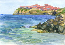 Watercolor seascape Stock Images