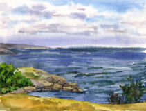 Watercolor seascape Stock Photography