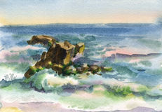 Watercolor seascape Royalty Free Stock Photo