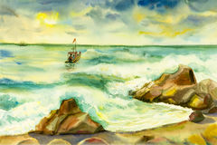 Watercolor seascape original painting colorful of fishing boat. And emotion in sun and cloud bottom background vector illustration