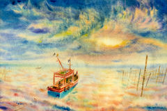 Watercolor seascape original painting colorful of fishing boat. And emotion in sun and clouds bottom background stock illustration