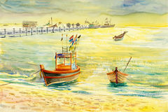 Watercolor seascape original painting colorful of fishing boat. And emotion in sunshine and cloud bottom background stock illustration