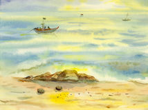 Watercolor seascape original painting colorful of reflections on the water. And emotion in yellow light and cloud bottom background vector illustration