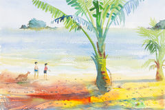 Watercolor seascape painting colorful of Boys and girls on the beach Royalty Free Stock Images