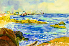 Watercolor seascape painting colorful of fishing boat,landing. Watercolor seascape original painting colorful of fishing boat,landing with trading and emotion in royalty free illustration