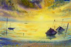Watercolor seascape painting colorful of fishing boat in sun eve. Watercolor seascape original painting colorful of fishing boat in sun evening and emotion in Royalty Free Stock Image