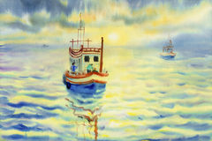 Watercolor seascape painting colorful of fishing boat in sun. Watercolor seascape original painting colorful of fishing boat in sun evening and emotion in Stock Photos