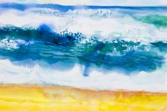 Watercolor seascape painting colorful of sea view,beach, wave. stock illustration