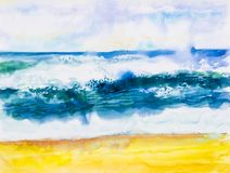 Watercolor seascape painting colorful of sea view,beach wave. royalty free illustration