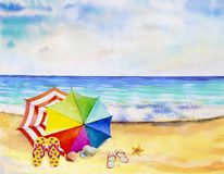 Watercolor seascape painting colorful of sea view. vector illustration