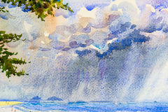 Watercolor seascape rain clouds in the sea and family holidays. Watercolor seascape original painting colorful of rain clouds in the sea and family holidays and vector illustration