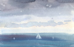Watercolor seascape of the rain over the mediterranean sea Stock Photography