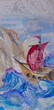 Watercolor seascape with ship sailing in a stormy sea. Watercolor seascape with historical ship sailing in a stormy sea across huge waves to the rocky land Royalty Free Stock Photography