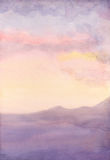 Watercolor Seascape. Sunset Royalty Free Stock Images