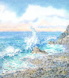 Watercolor seascape. Surf. Watercolor seascape with background for text. Scenic beautiful morning surf on the rocky shore under cloudy heaven stock photos