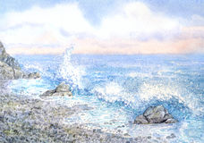 Watercolor seascape. Surf Stock Photos