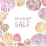 Watercolor seashell frame stock illustration