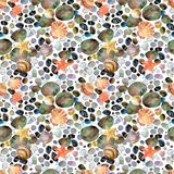 Watercolor seashells and sea stones hand drawn seamless pattern. Stock Photos
