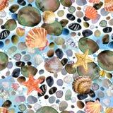 Watercolor seashells and sea stones hand drawn seamless pattern. Stock Photo