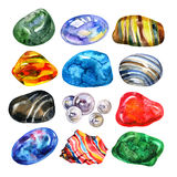 Watercolor semiprecious stones set. Bright watercolor multicolored crystal stones gems on white background. Stock Images