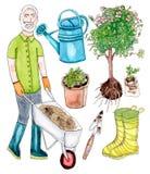 Watercolor senior gardener and garden set Royalty Free Stock Photography