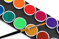Watercolor set. Watercolor box with paint brush isolated on white Royalty Free Stock Photos
