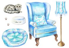 Watercolor set with armchair, floor lamp, cat, bowl, and pet bed royalty free illustration