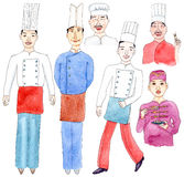 Watercolor set of asian chefs on white background. 6 asian watercolor chefs in hats and uniform vector illustration