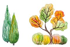 Watercolor set of autumn trees Stock Image