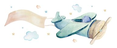 Watercolor set background illustration of a cute cartoon and fancy sky scene complete with airplanes, helicopters, plane. Watercolor set background illustration royalty free illustration