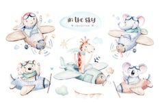 Watercolor set baby cartoon cute pilot giraffe, elephant with koala, bear and bird aviation sky transport complete with