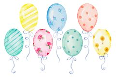Watercolor set of balloons stock illustration