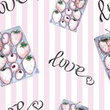 Watercolor set of berries in box seamless pattern stock illustration