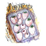 Watercolor set of berries in box for Valentine`s day royalty free illustration