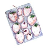 Watercolor set of berries in box for Valentine`s day stock illustration