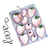 Watercolor set of berries in box for Valentine`s day vector illustration