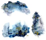Watercolor set with blue and grey splash and gold glitter on white background. The color splashing in the paper. Hand stock photo