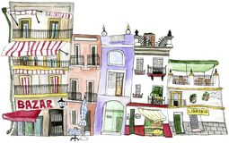 Watercolor houses Seville. Watercolor set of buildings in the historic center of Seville, Spain. There`s a greengrocer, a bookshop and a market, the windows are stock illustration