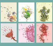 Watercolor. Set of  cards with flowers  elements with blots. Colourful template Royalty Free Stock Photo